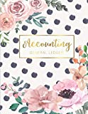 Accounting General Ledger: Flower Watecolor Cover | 6 Column Account Record Book Journal Not...