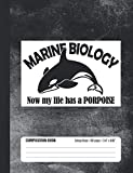 Marine Biology Now My Life Has A Porpoise Composition Book: Student College Ruled Notebook