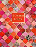 6 Column Ledger: Red Orange Moroccan Pattern Daily Accounting Journal Book, Keeping Book Fin...