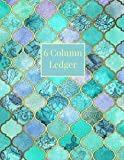 6 Column Ledger: Turquoise Moroccan Pattern Daily Accounting Journal Book, Keeping Book Fina...