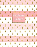 6 Column Ledger: Pink and White, Faux Gold Teardrops Daily Accounting Journal Book, Keeping ...
