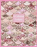 6 Column Ledger: Pink Mermaid Faux Glitter Print Daily Accounting Journal Book, Keeping Book...