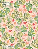 Flamingo Notebook: Standard Size College Ruled Composition Book With Tropical Leaves Pattern...