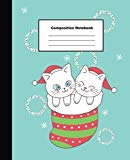 Composition Notebook: Cute Christmas White Cats in Socks on Green Pastel Wide Ruled Note
