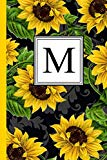 M: Floral Letter M Monogram personalized Journal, Black & Yellow Sunflower pattern Monogramm...