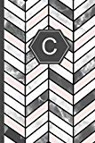 C: Stylish Chevron Letter C Monogram Pink, Grey & White Marble Journal 6x9 inch blank lined ...
