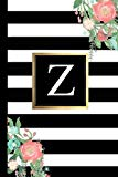 Z: Black and white Stripes & Flowers, Floral Personal Letter Z Monogram, Customized Initial ...