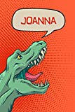 Joanna: Personalized Dino Drawl and Write, writing Practice Paper for Kids Notebook with Lin...