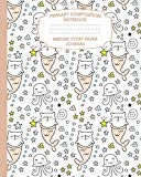 Primary Composition Notebook Midline Story Paper Journal: Mermaid Cat Notebook For Grades K-...