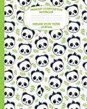 Primary Composition Notebook Midline Story Paper Journal: Panda Bamboo Notebook For Grades K...
