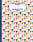 Primary Composition Notebook Midline Story Paper Journal: Rainbow Hearts Notebook For Grades...