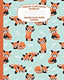 Primary Composition Notebook Midline Story Paper Journal: Red Panda Notebook For Grades K-2 ...